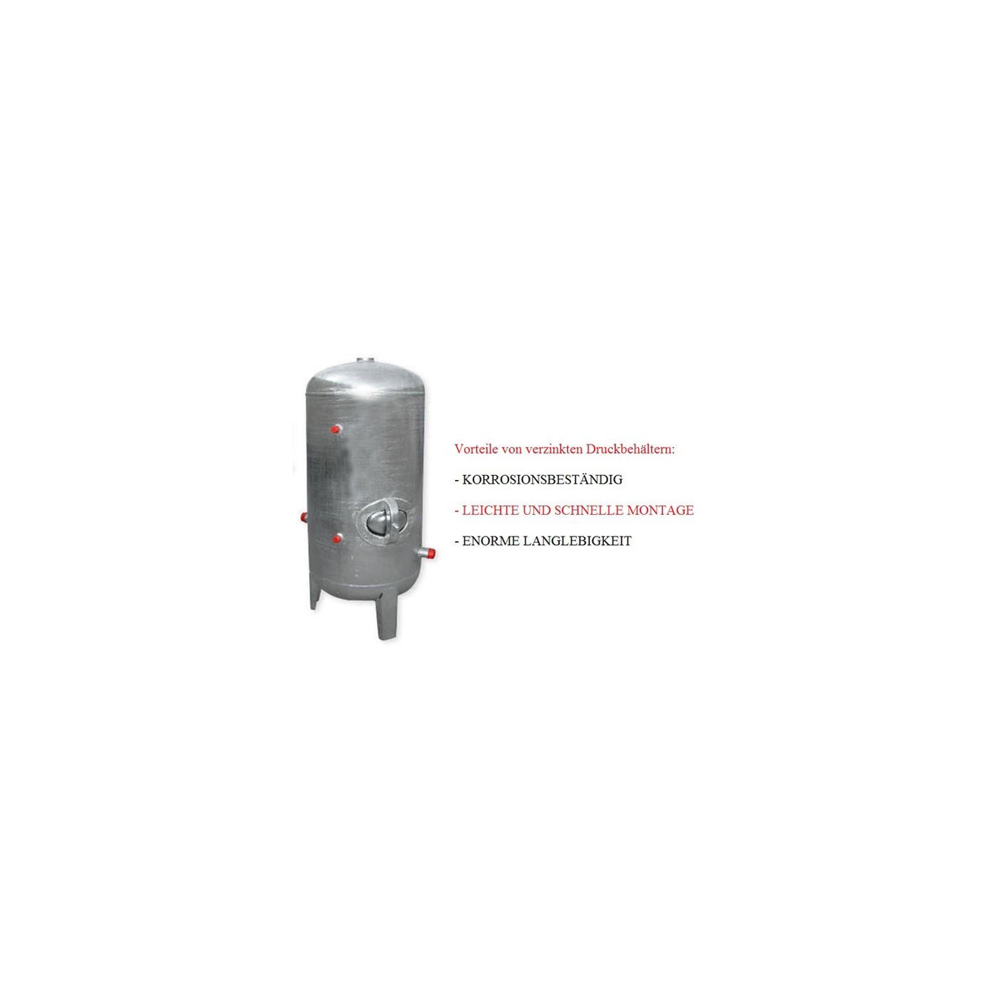 Druckbehälter 100 bis 500L 6 bar senkrecht mit Zubehör verzinkt ...