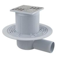Bodenablauf 105 × 105/50 mit waagrechtem Abgang, Rost: Edelstahl, Geruchsverschluss mit Sperrwasser