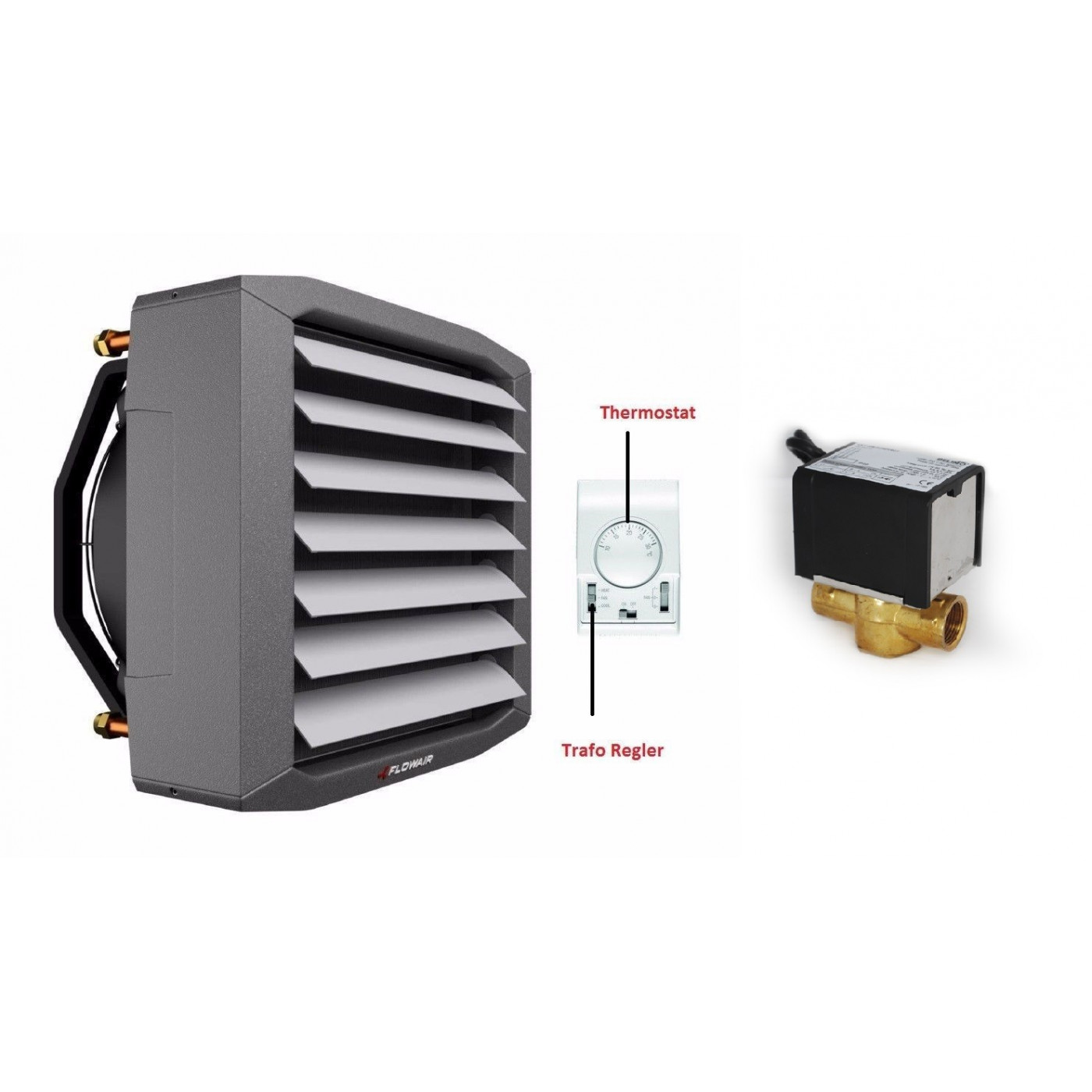 Lufterhitzer 12,8KW Drehzahltraforegler Thermostat Stellmotor 2 Weg Ventil Heizregister Luftheizung Hallenheizung