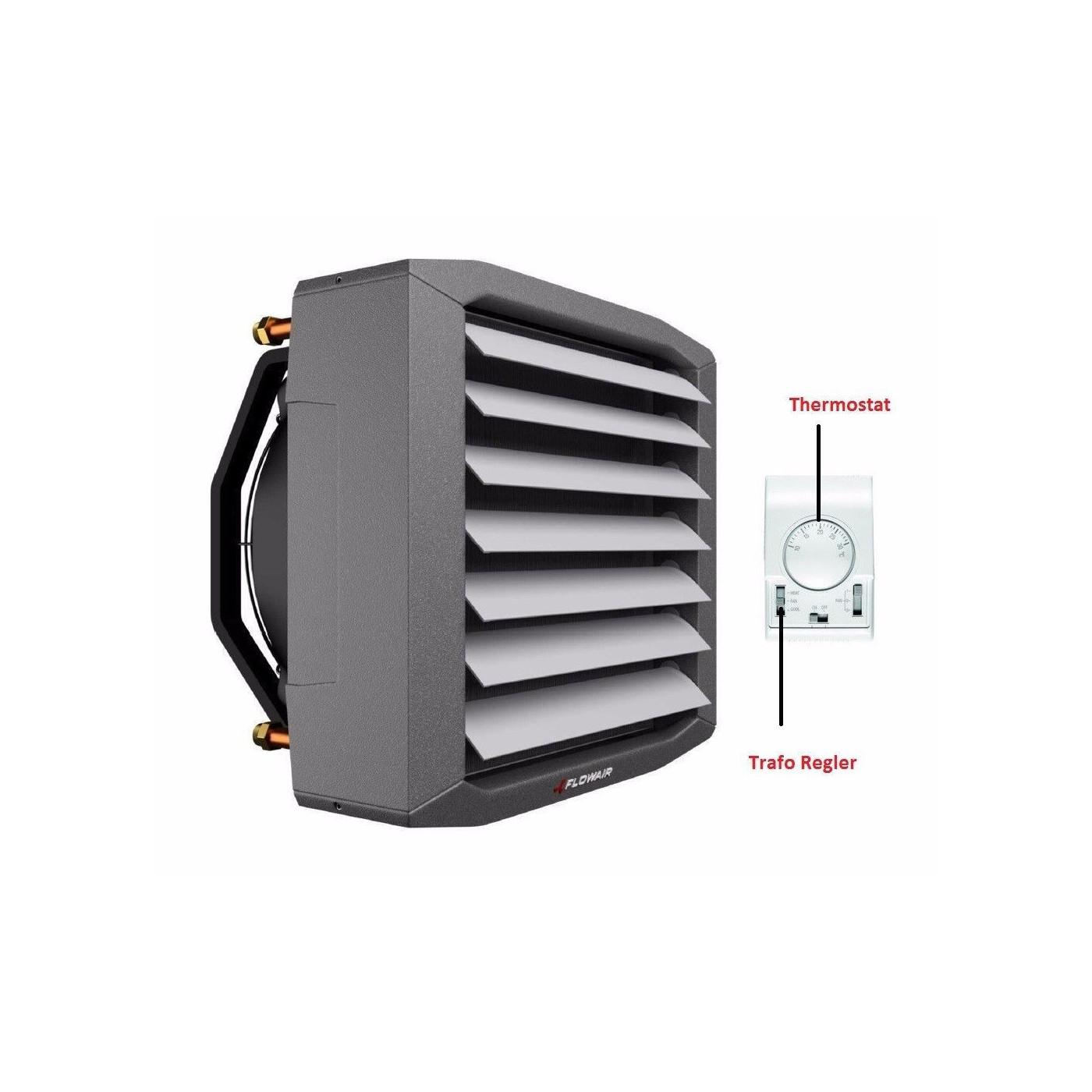 Lufterhitzer 32,7 KW Drehzahltraforegler Thermostat Stellmotor 2 Weg Ventil Heizregister Luftheizung Hallenheizung