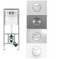 Sanit WC Vorwandelement Unterputzspülkasten Spülkasten Wand WC hängend 112cm Drückerplatte Stahl Chrom Weiss Matt