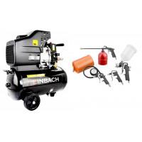 EINBACH Luftkompressor Druckluft-Aggregat 5 teil. Set Kompressor 24L Kessel 230V  Farbspritzpistole Ausblaspistole