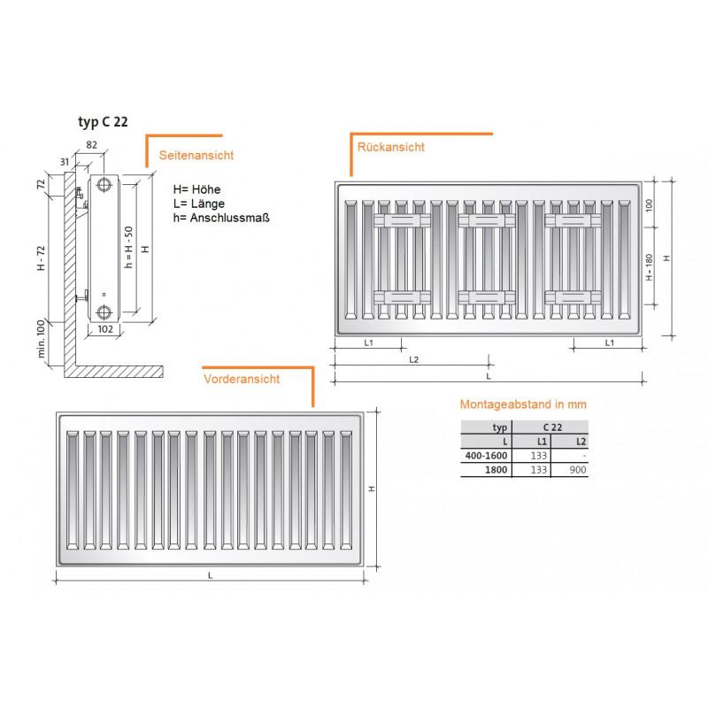 BL 160 cm PURMO KOMPAKT HEIZK/ÖRPER Typ 22 H 60 CM BL 40-180cm inkl Halterung zweilagig Profil
