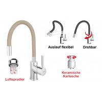 Spültischarmatur Beige flexibel Einhebelmischer Wasserhahn Messing Mischbatterie Spiralfederarmatur