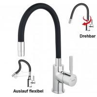 Spültischarmatur SCHWARZ flexibel Einhebelmischer Wasserhahn Messing Mischbatterie Spiralfederarmatur
