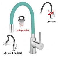 Spültischarmatur MINT flexibel Einhebelmischer Wasserhahn Messing Mischbatterie Spiralfederarmatur