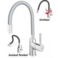 Spültischarmatur SILBER flexibel Einhebelmischer Wasserhahn Messing Mischbatterie Spiralfederarmatur