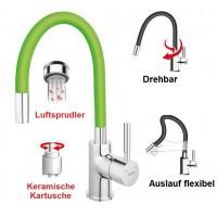 Spültischarmatur GRÜN flexibel Einhebelmischer Wasserhahn Messing Mischbatterie Spiralfederarmatur